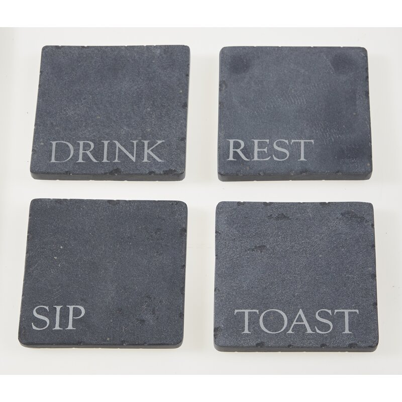 Beauty In Simplicity Slate Grey 4 x 4 Absorbent Ceramic Coasters Set of 4