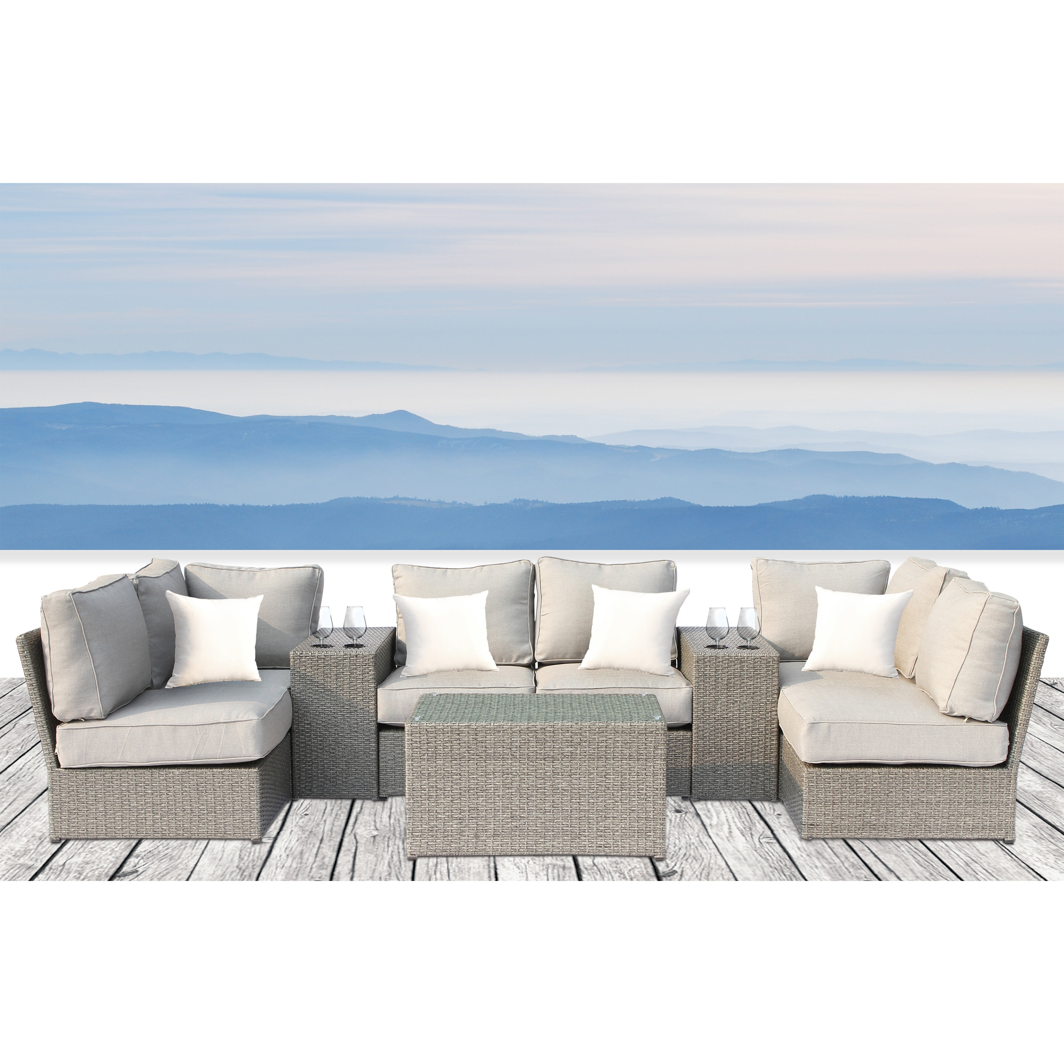 Rosecliff Heights Winsford 9 Piece Sectional Seating Group With Cushions Wayfair