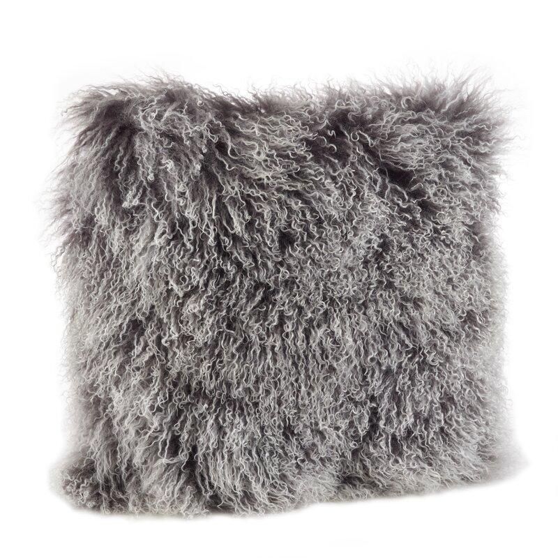 Becky Mongolian Wool Throw Pillow