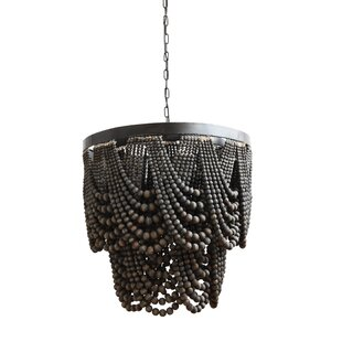 Modern contemporary wood beaded chandelier allmodern hatfield metalwood 3 light empire chandelier aloadofball Image collections