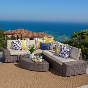 Connie 6 Piece Rattan Sectional Set with Cushions