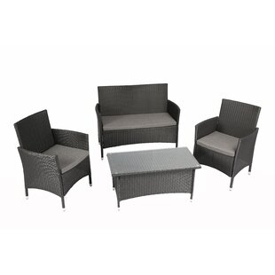 Patillo Outdoor Complete 4 Piece Sofa Set with Cushions