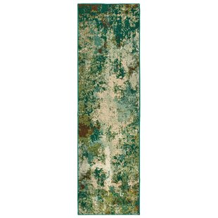 Hedberg Abstract Distressed Green/Beige Indoor/Outdoor Area Rug