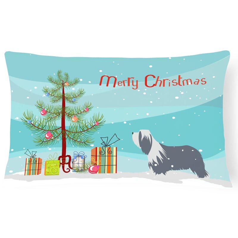 The Holiday Aisle Bearded Collie Indoor Outdoor Lumbar Pillow Wayfair
