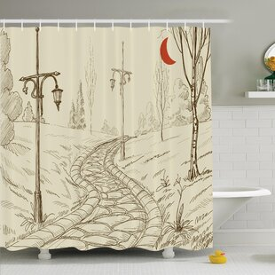 Park Alley Artsy Shower Curtain Set by Ambesonne Best #1