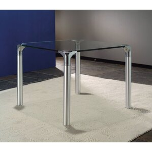 Glass Top End Table With Chrome Base by Creative Images International
