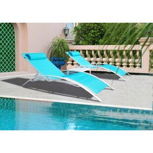 Travon Elegant Patio Adjustable Reclining Chaise Lounge (Set of 2)