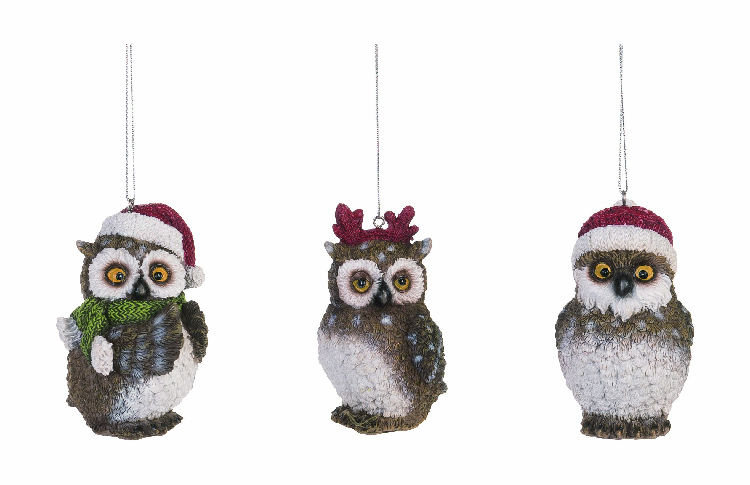 The Holiday Aisle 3 Piece Resin Owl Hanging Figurine Ornament Set Wayfair