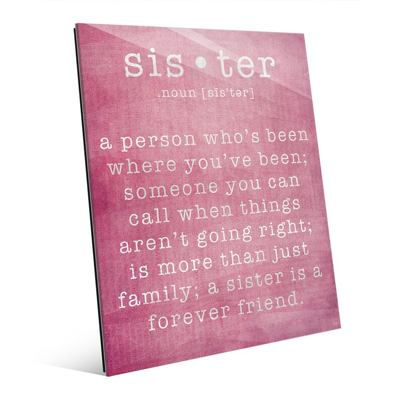 'Sister' Textual Art on Plaque