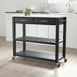 Lagarde Kitchen Cart  Prep Table with Granite Top by Winston Porter