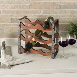 Lilwen Metal and Wood Free-Standing 9 Tabletop Wine Bottle Rack