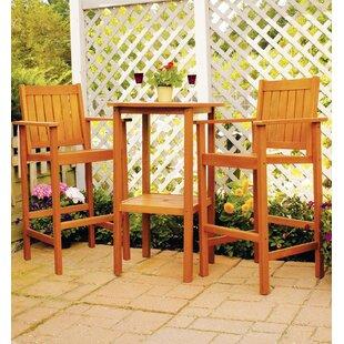 Eucalyptus 3 Piece Bar Height Dining Set