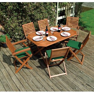 Plumley Outdoor 7 Piece Dining Set by Row..