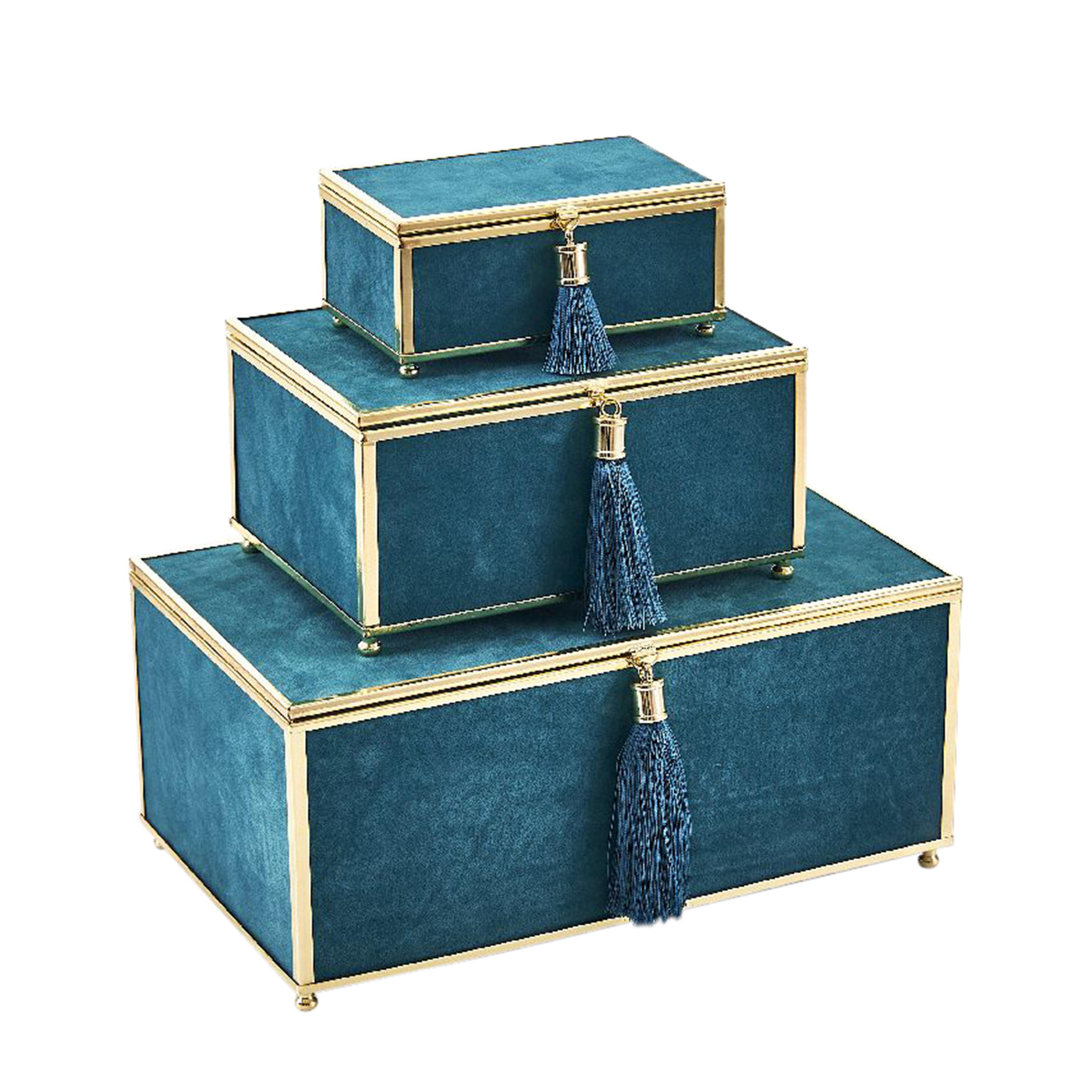 Mercer41 Ola Velve 3 Piece Decorative Box Set With Tel Reviews Wayfair