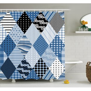 Farm House Geometric Diamond Shaped Lines with Various Nostalgic Fashioned Old Pattern Shower Curtain Set