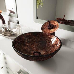 Great Price Sink Tempered Glass Circular Vessel Bathroom Sink By VIGO