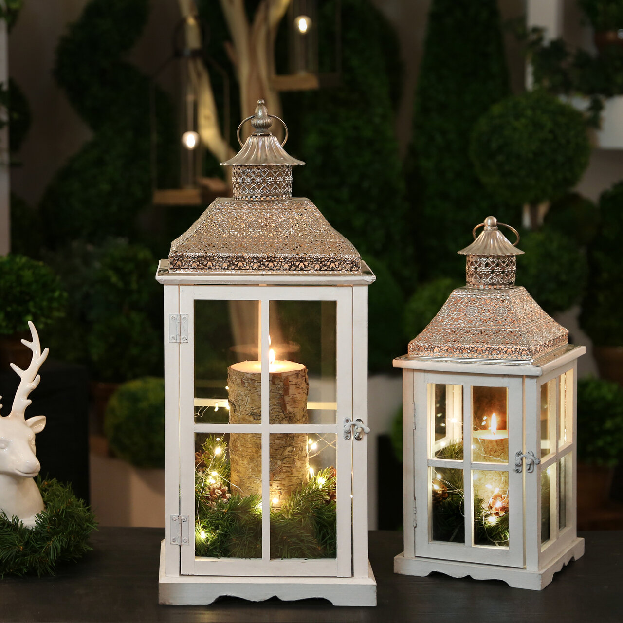 The Holiday Aisle 2 Piece Tall Wood Lantern Set Reviews Wayfair