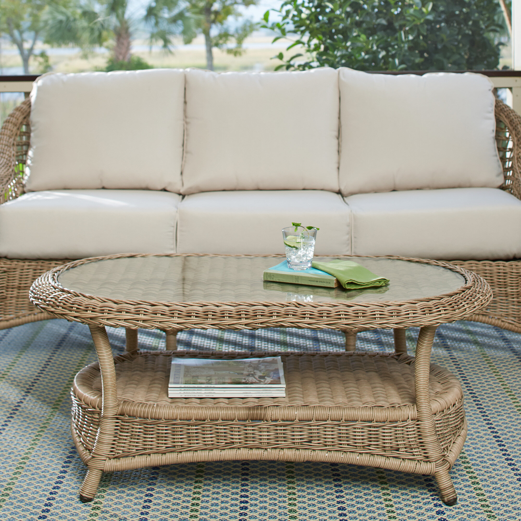 Lynwood Wicker Coffee Table & Reviews