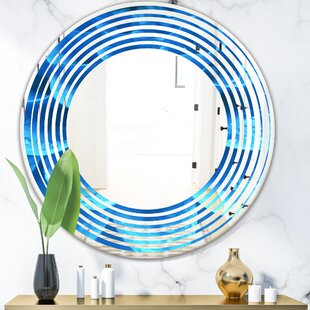 Wave Flower and Petals Coastal Bathroom Mirror