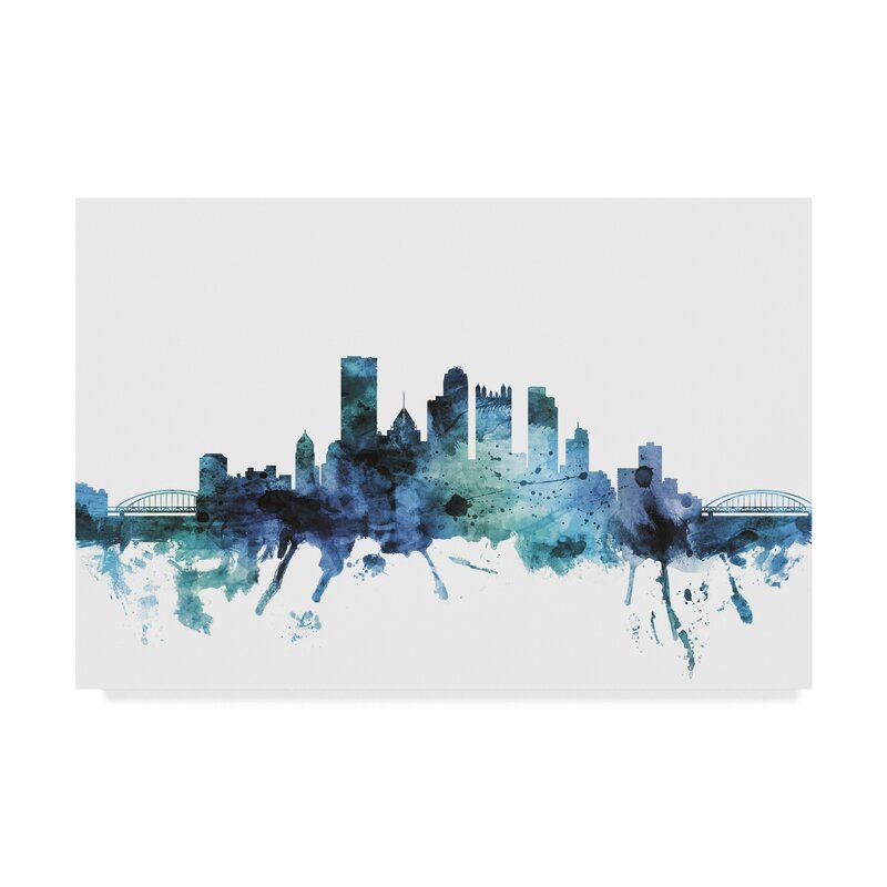 Wrought Studio Pittsburgh Blue Teal Skyline Graphic Art Print On Wrapped Canvas Wayfair