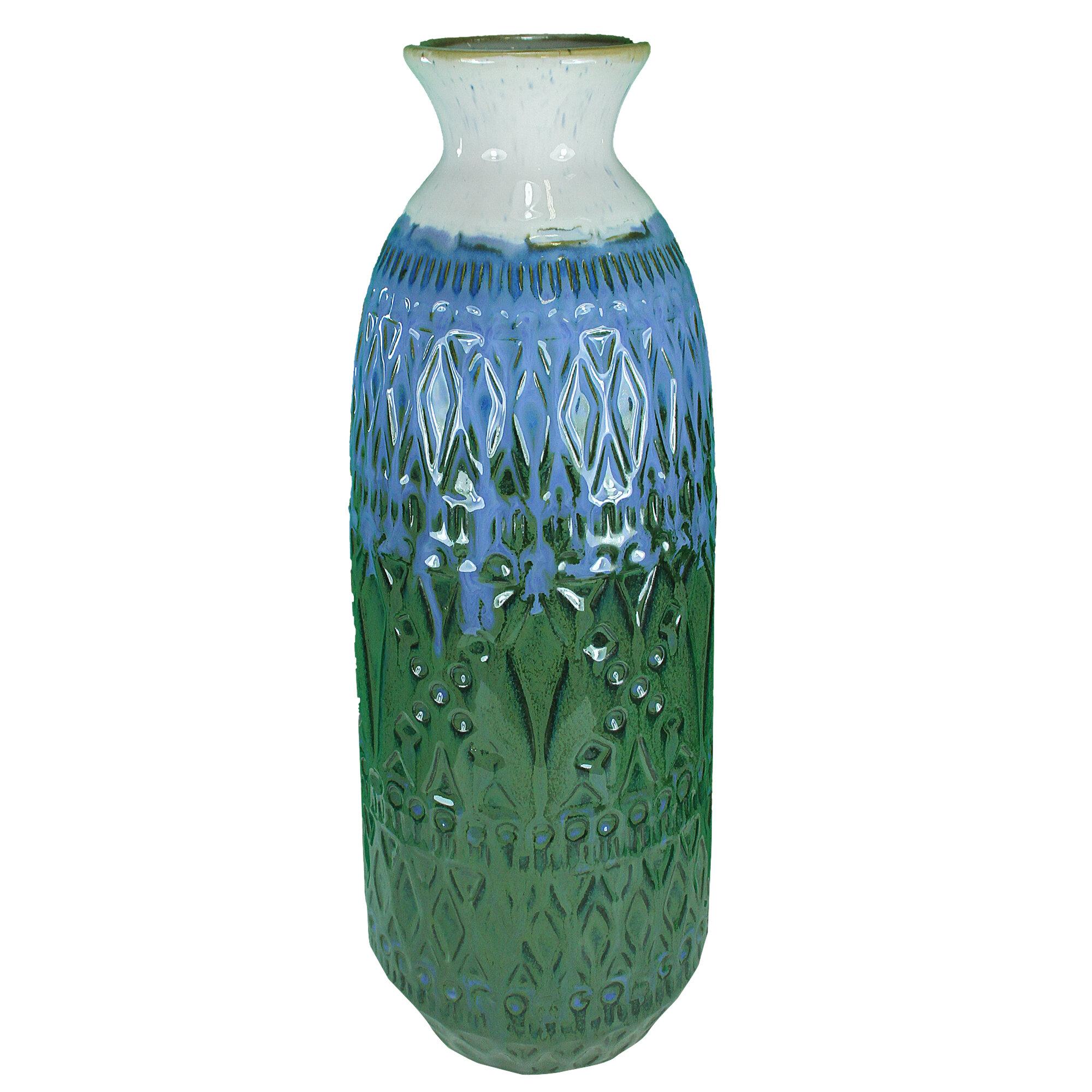 Bungalow Rose Gabby 2 Tones Ceramic Table Vase Wayfair