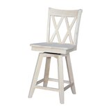 Saint Georges Swivel Solid Wood 24 Counter Stool by Rosecliff Heights