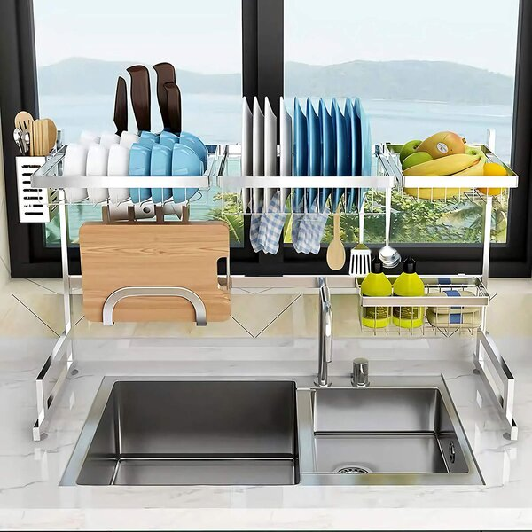 Utensil Holder Silver Easy to Mount Maximizes Space Ideal for Kitchen Organizer Storage Rust-Free Stainless Steel Kitchen Dish Rack Over Sink