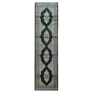 One-of-a-Kind Sarina Royal Bukhara Hand-Knotted Silk, Wool Green Area Rug