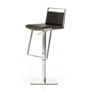 Clower Adjustable Height Swivel Bar Stool with Square Seat by Orren Ellis