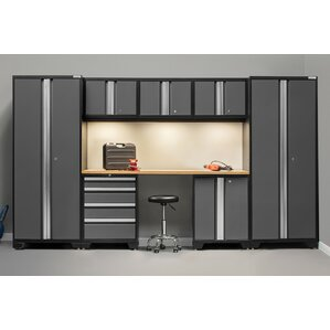 bold 30 series 8 piece garage storage cabinet set with worktop