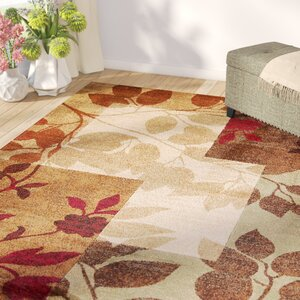 Raffin Beige/Brown Leaves Area Rug