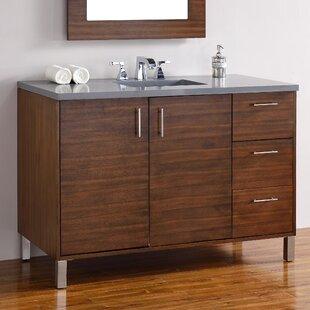 Cordie 48 Single American Walnut Solid Wood Base Bathroom Vanity Set by Orren Ellis