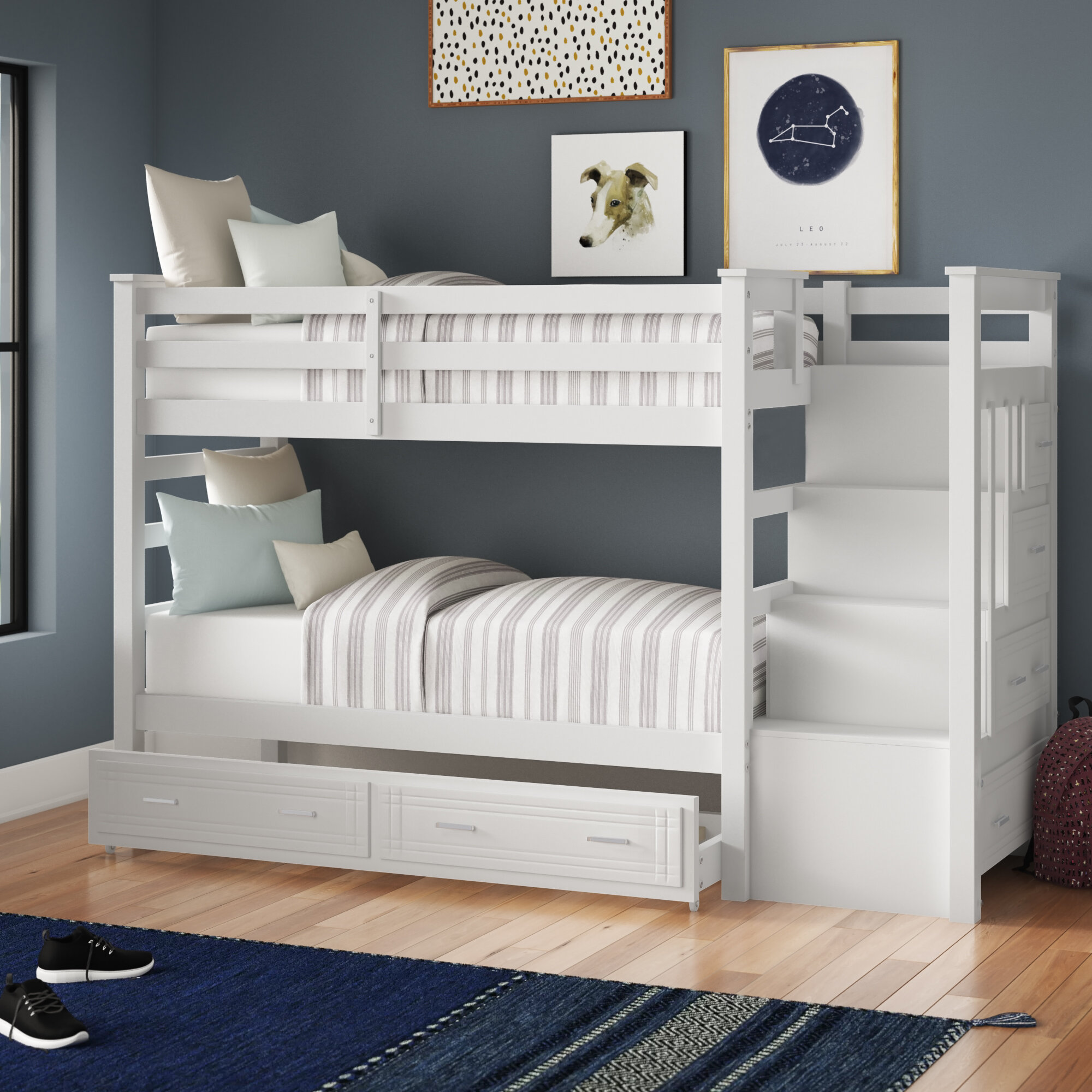 Harriet Bee Leyburn Twin Over Twin Bunk Bed With Trundle And Drawers Reviews Wayfair