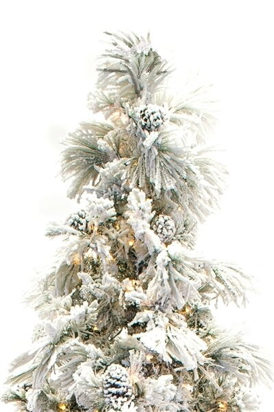 Flocked Long Needle 9' Green Pine Tree Artificial Christmas Tree with 750 Clear UL lights