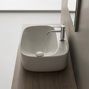 Affordable Moon Ceramic Oval Vessel Bathroom Sink with Overflow ByScarabeo by Nameeks