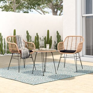 Garett Wickered 3 Piece Bistro Set with C..