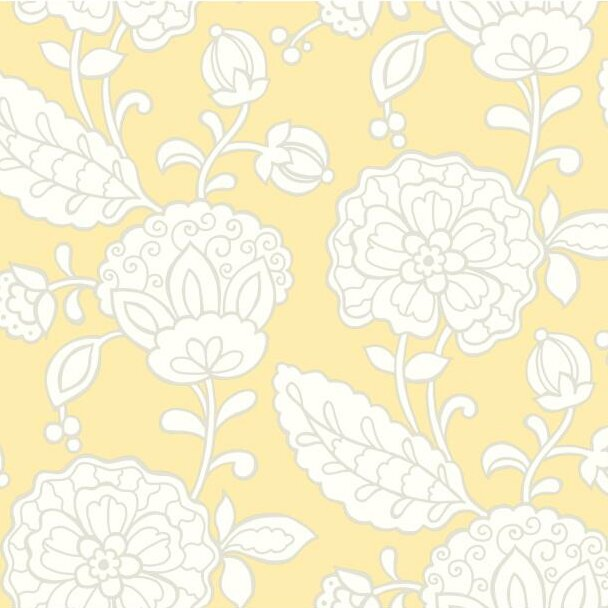 "Carey Lind Vibe 27' x 27"" Chunky Floral Wallpaper Roll"