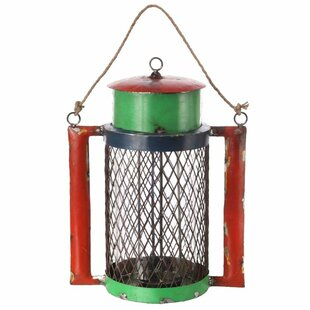 Reclaimed Metal and Glass Lantern with Handle