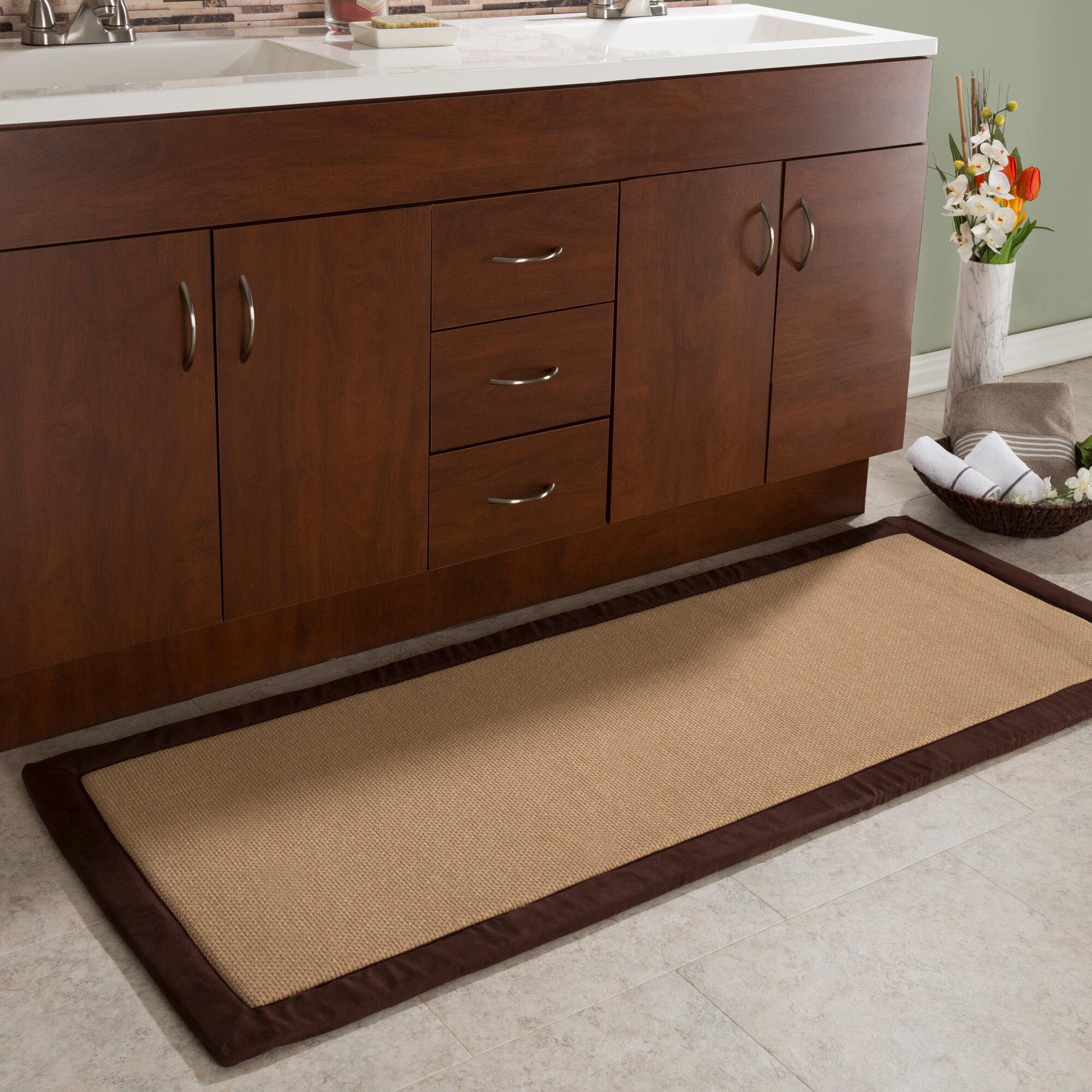 Faux Linen Fleece Long Bath Rug