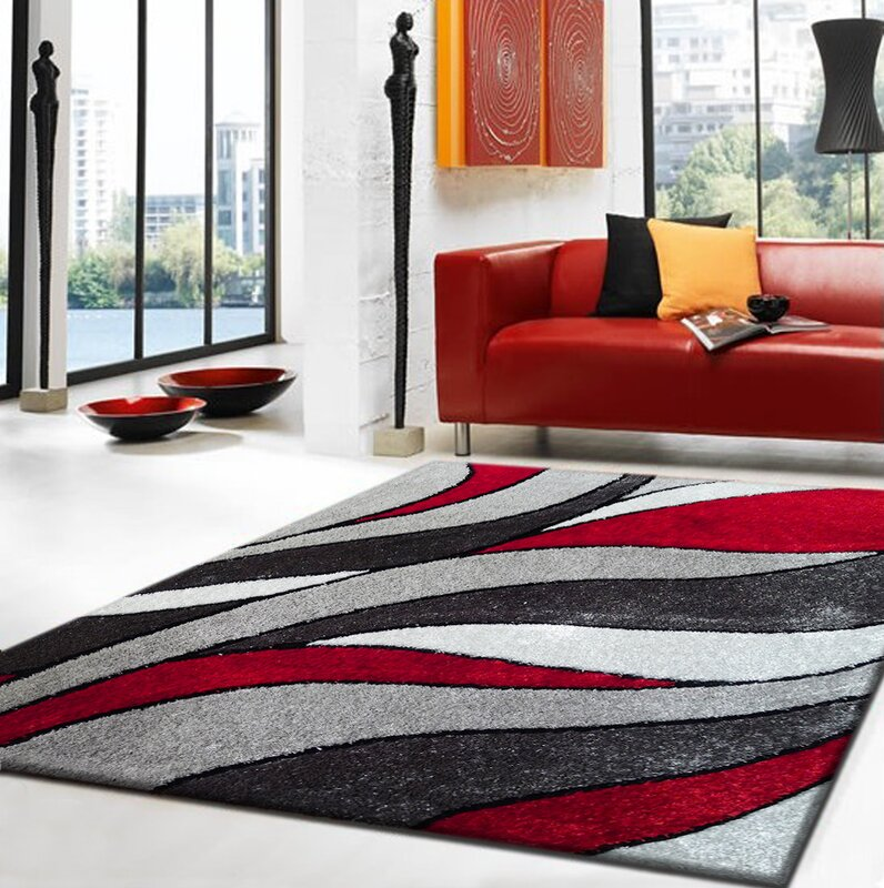 Lola Hand Tufted Gray Red Area Rug