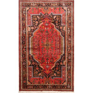 One-of-a-Kind Mounce Geometric Malayer Vintage Hamadan Persian Hand-Knotted 4'3 x 7'1 Wool Red/Black Area Rug Isabelline