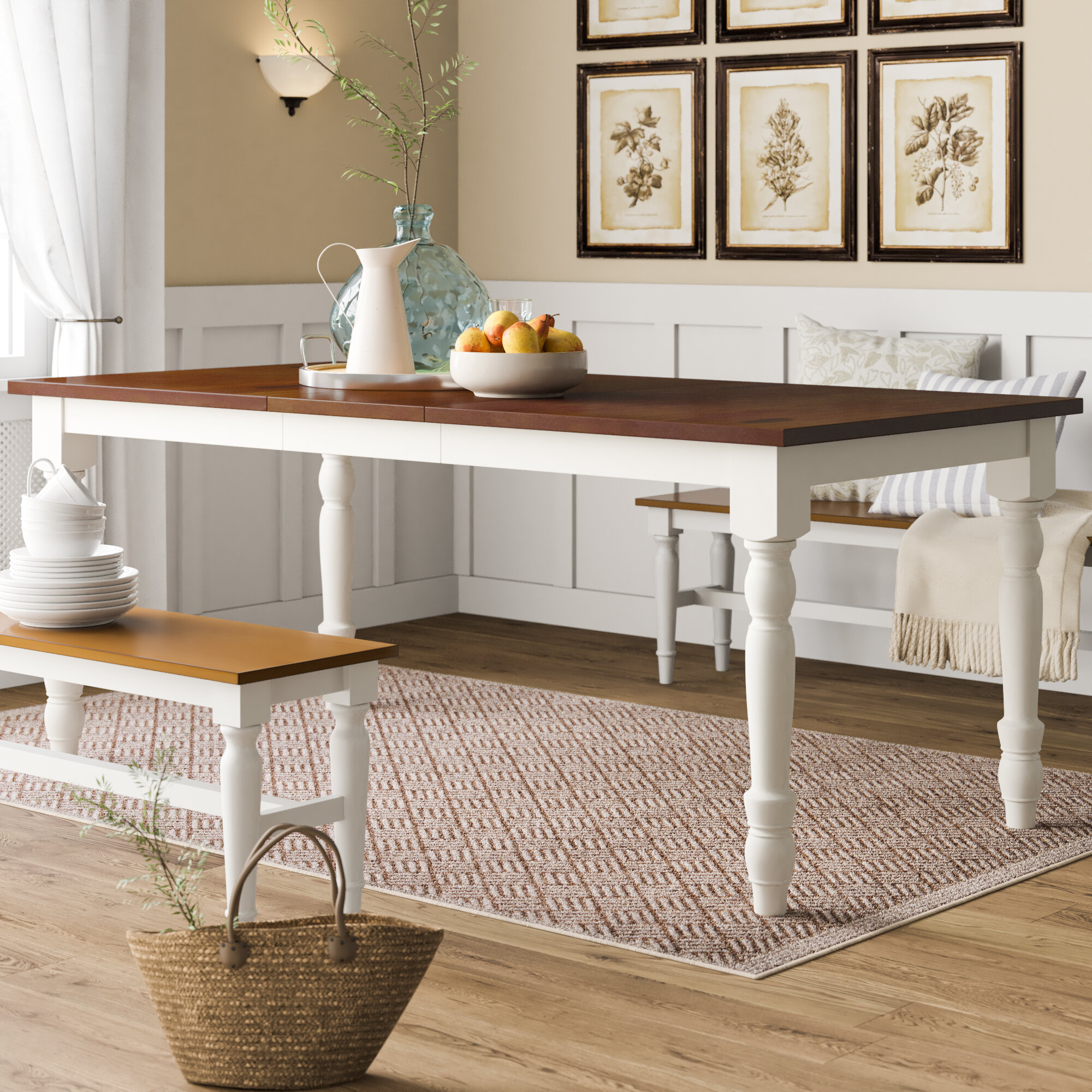Solid Wood Turned Leg Extendable Dining