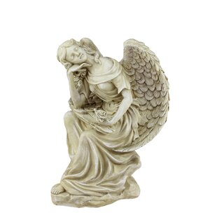 Heavenly Gardens Daydreaming Angel With Rose Outdoor Patio Garden Statue