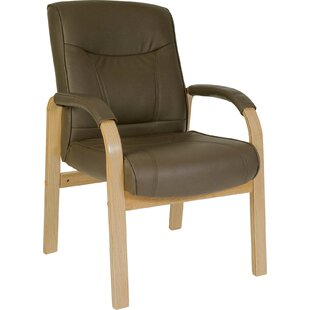 Seidel Leather And Wood Visitor's Chair In Brown By Mercury Row