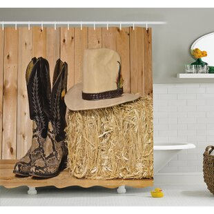 Western Snake Skin Cowboy Boots Timber Planks in Barn with Hay Old West Austin Texas Shower Curtain Set ByAmbesonne