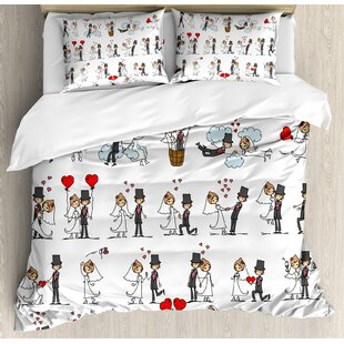 Wedding Decorations Cartoon Style Couple on Clouds with Hearts Cute Love Themed Duvet Set by Ambesonne