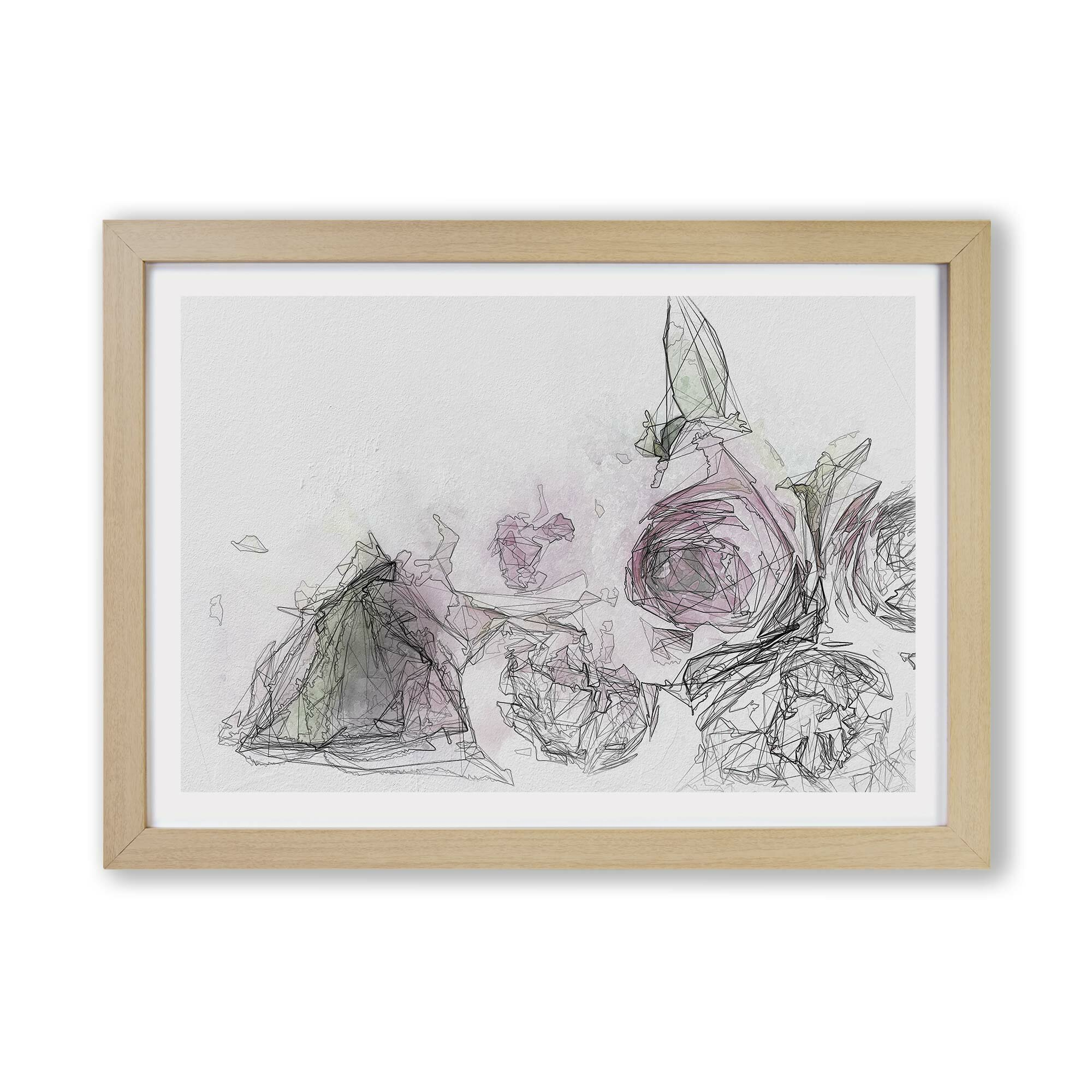 East Urban Home Dusty Pink Roses Picture Frame Graphic Art Print On Paper Wayfair Co Uk