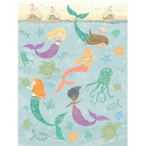 Bridget Mermaids Under the Sea by Tina O'Neill Finn Stretched Canvas Wall Art