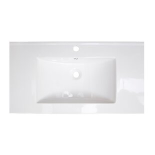 American Imaginations Flair Ceramic Rectangular Drop-In Bathroom Sink with Overflow