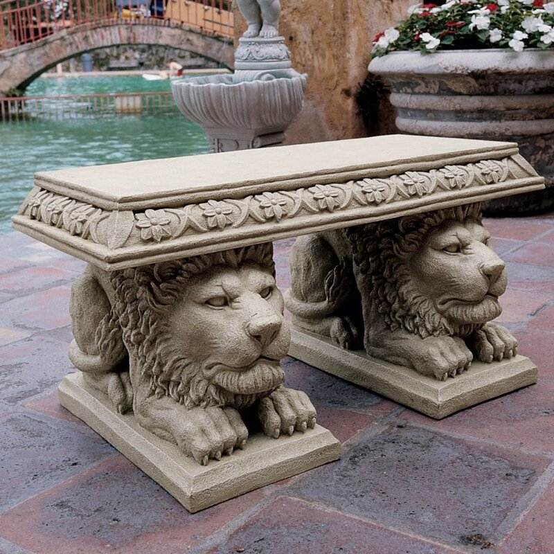 Grand Lion Of St. Johnu0027s Square Stone Garden Bench